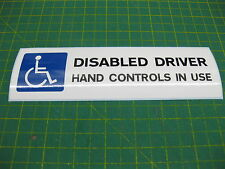 1 Disabled Driver Car Sticker Hand Controls in use 200mm x 60mm