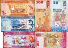 SRI LANKA - Lotto 3 banconote 20/50/100 Rupees FDS - UNC