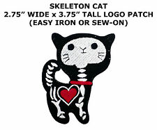 1x Heart X-ray Black Skeleton Cat Tattoo Embroidered Applique Sew Iron on Patch