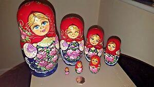 Traditional Matryoshka Babushka Russian Nesting Wooden Dolls Set 7 pc Big Size