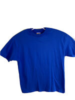 Vintage Hanes Beefy T Size XL Shirt Tee Made In USA Blue Single Stitch Blank