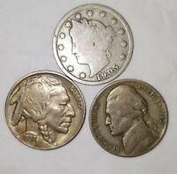 Old US Coin Lot Silver War, Buffalo, and Liberty V Nickels 3 Coin Set +  *BONUS*