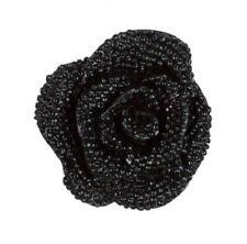 $225 Anne Fontaine ITAN statement BLACK floral rose cufflinks lustrous finish