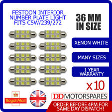 10x 36mm TARGA INTERNI LUCE Festoon LAMPADINA 6 LED Xenon Bianche 239 272