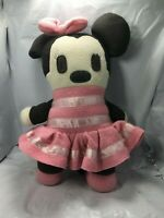 "Rare Disney World  Minnie Mouse 12"" Soft Plush Doll Toy Pink Dress Free Shipping"
