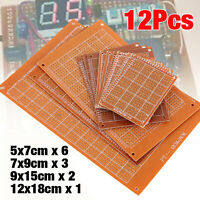 12pcs PCB Stripboard Strip Printed Circuit Board Prototype Track Breadboard