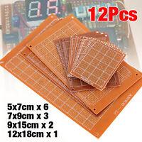 12pcs PCB Stripboard Strip Printed Circuit Board Prototype Track Breadboard