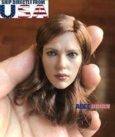 1/6 Scarlett Johansson Black Widow Brown Hair Head Sculpt For Hot Toys PHICEN
