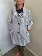 Joseph ribkoff Cotton Mix Coat With Ruffle Collar. Black/white Patterned Size 14