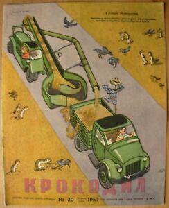 20/ 1957 Magazine KROKODIL Russian Soviet poster Humor Satire USSR Anti-Nazi