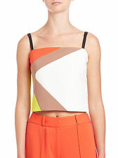 Milly Colorblock Cropped Cady Tank Top Sz 0 NWT $265