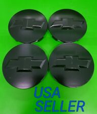 "4X 07-13 Chevrolet 3.25"" Matte Black Center Caps For 18"" 20"" 22"" Wheels 9596403"