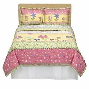 Circo Yellow Green Pink Purple Happy Flower Full Queen Comforter Pillow Sham