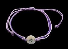 Bracelet bresilien Oeil de Sainte Lucie Nacre Cuir Shiva - Mauve violet 998