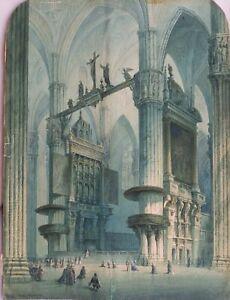 Mailänder Dom Gemälde um 1850 Aquarell/Papier Sepia signiert