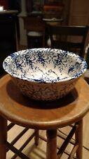 "Marshall Pottery Texas Cobalt Blue Spongeware Stoneware 10"" mixing  Bowl"