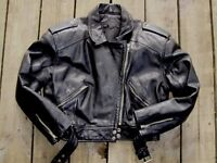 VINTAGE EXPRESS WOMENS CROPPED LEATHER PERFECTO STYLE JACKET nice quality