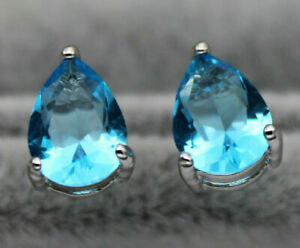 2.10 CT 925 Silver Pear Cut Blue Topaz 3 Prong Stud Earrings 14K White Gold Over