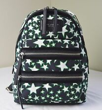 Marc Jacobs Black Green Flocked Stars Biker Backpack