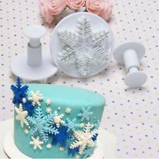 3pcs Christmas Snowflake Plunger Cutter Mold Fondant Cake Sugarcraft Decor Tools