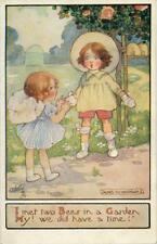 """PRINTED CHILDRENS POSTCARD """"I MET TWO BEES"""" BY AGNES RICHARDSON, TUCK OILETTE"""