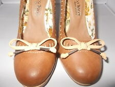 Work Court Shoes UK Size 3 36 Ladies Womens High Heels Brown Faux PU Leather
