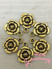 PJ295 15pc Tibetan Gold Bead Charms Double-sided Rose Flower Jewelry Findings