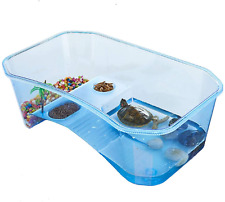 Turtle Tank Aquarium Habitat Reptile Basking Built In Platform Transparent Blue