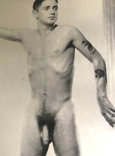 "VINTAGE 8X10"" BEEFCAKE PHOTOGRAPH TATTOOED HANDSOME STUDIO POSE GAY INTEREST"