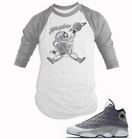 Baseball T Shirt to Match Air Jordan 13 Atmosphere Grey Shoe Men BB Tee Shirt