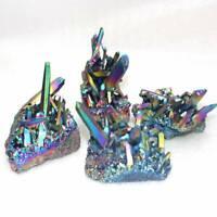 Natural Rainbow Crystal Titanium Cluster Quartz Mineral Specimen Reiki Healing~