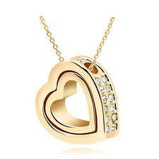 NEW Fashion Double Heart Clear Crystal Charm Pendant Chain Necklace Gold CD28