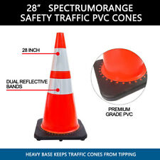 "(Lot Of 4) Spectrum Orange Safety Traffic Cones 28"" 3M Reflectors"