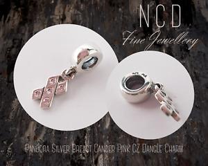NC Designs Authentic Pandora Silver Breast Cancer Pink CZ Dangle Charm 790314PCZ