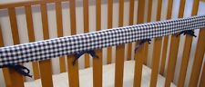 Baby Cot Teething Rail Cover Cotton Navy Gingham   ***REDUCED***