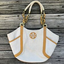 Tory Burch Gold Canvas Leather Purse Handbag Tote Shoulder Bag Rope Chain Strap