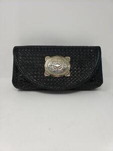 Southwestern Tooled Basket Weave Hard Clutch Bag Black Sterling Silver Buckle