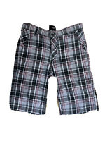 Hurley Mens W33 Grey Black Red Check Walk Board Shorts Summer Sun