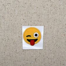 SMALL - Smiley Face Emoji - Winking Tongue - Iron on Applique/Embroidered Patch