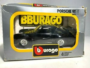 Burago  Black Porsche 911 S  Cod. 0102   Die-Cast Metal  1/24 scale