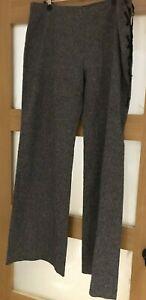 JOSEPH CHIC WIDE LEG TROUSERS, WOOL BLEND SIDE LACING SIZE: XL