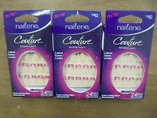 Lot of 3 Nailene Couture Nails 24 GLUE ON Nails 71871 Red/Silver Free Shipping!!