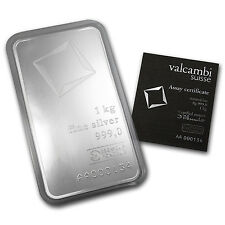 1000 gram Valcambi Suisse Silver Bar - With Assay Card - SKU #78911
