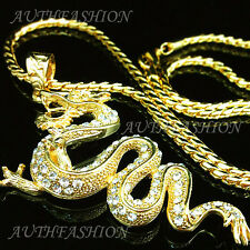 """3.15"""" Big Hiphop Punk 18k Gold Plated Mens Chinese Dragon Pendant Necklace P90"""