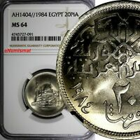 Egypt Copper-Nickel AH1404//1984 20 Piastres NGC MS64 Mosque Mohamed Ali KM# 557