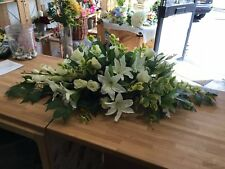 Artificial Silk Funeral Flower Coffin Spray Casket Small White Floral Tribute