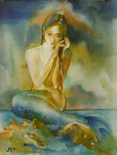 """Kleine Meerjungfrau"" - Aquarell Original"