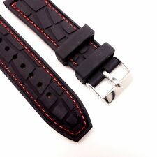 22mm Quality Red Threading Genuine Leather Backed Black Silicone Watch Strap