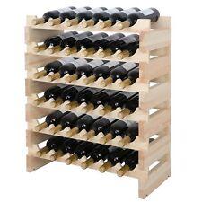 6 tiers x 6 Modular Wine Rack Stackable Wooden Stand Display Shelves 36 Bottle