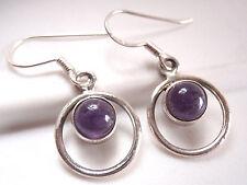 Purple Amethyst Dangle Hoop Earrings 925 Sterling Silver Corona Sun r415u